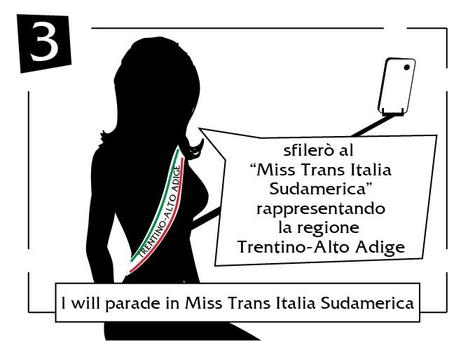 I will parade in miss trans italia sudamerica